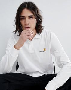 Поло белого цвета с длинными рукавами и логотипом Carhartt WIP American - Белый