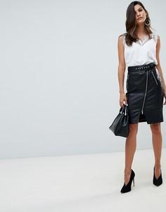 Черная юбка-карандаш миди из полиуретана Morgan - Черный