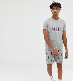 Пижама с футбольным принтом ASOS DESIGN - Серый