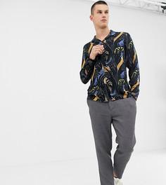 Рубашка с отложным воротником, длинными рукавами и принтом Noak - Темно-синий