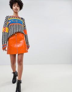 Мини-юбка с молнией Pepe Jeans - Оранжевый