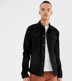 Черная приталенная джинсовая куртка в стиле вестерн ASOS DESIGN Tall - Черный