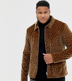 Куртка на молнии с леопардовым принтом ASOS DESIGN Plus - Рыжий
