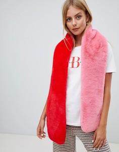 Красный с розовым шарф из искусственного меха Miss Selfridge - Мульти