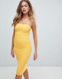Желтое платье миди бандо Missguided - Желтый
