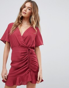 Красное платье мини с рукавами-кимоно и сборками Boohoo - Красный