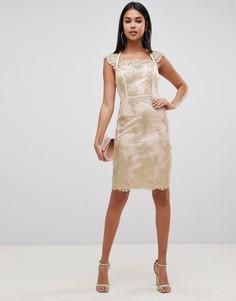 Платье-футляр миди с вышивкой и короткими рукавами золотистого цвета Lipsy - Золотой