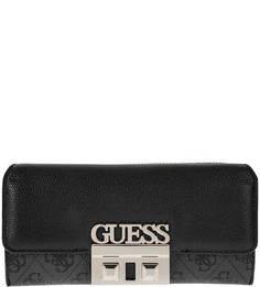 Черный кошелек с металлически декором Guess