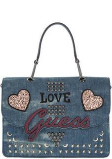 Синяя сумка с нашивками и откидным клапаном Guess