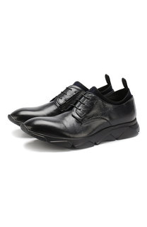 Кожаные кроссовки на шнуровке Raparo