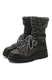 Кожаные ботинки на массивной подошве Miu Miu
