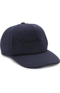 Хлопковая бейсболка с логотипом бренда Giorgio Armani