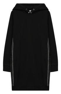 Хлопковое мини-платье прямого кроя с капюшоном Givenchy