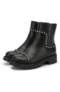 Кожаные ботинки на молнии с внутренней меховой отделкой Dsquared2