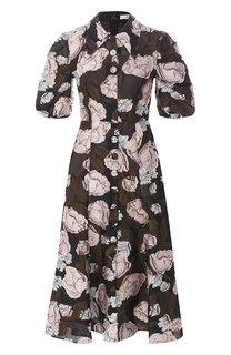 Приталенное платье-миди с принтом Erdem