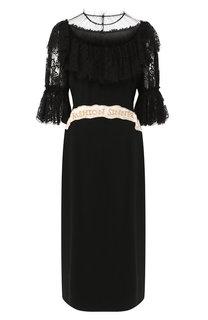 Приталенное платье-миди с декоративной отделкой Dolce & Gabbana