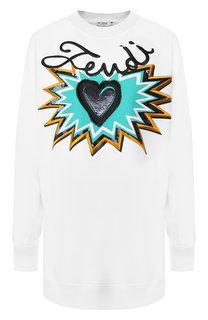 Хлопковый пуловер с декоративной вышивкой Fendi