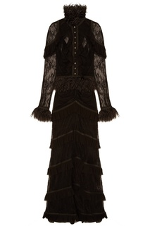 Черное платье с кружевом и оборками Laroom
