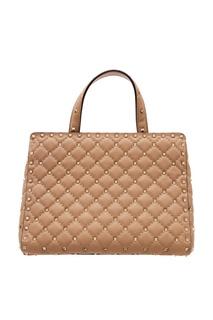 Бежевая кожаная сумка с заклепками Rockstud Valentino