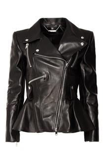 Черная кожаная куртка с баской Alexander Mc Queen