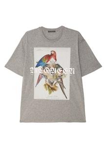 Серая меланжевая футболка с принтом Alexander Mc Queen