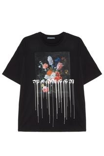 Черная футболка с натюрмортным принтом Alexander Mc Queen