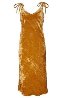 Золотое бархатное платье-комбинация Laroom