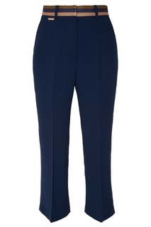 Синие брюки с контрастным поясом Laroom