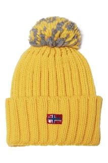 Желтая шапка с нашивкой Napapijri