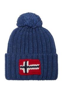 Синяя вязаная шапка Napapijri