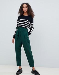 Зауженные брюки с высокой талией ASOS DESIGN - Зеленый