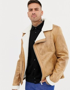 Светло-коричневая куртка из искусственной овчины River Island - Рыжий