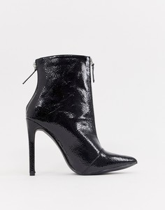 Лакированные остроносые ботинки Boohoo - Черный