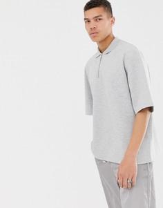 Серое меланжевое oversize-поло на молнии из ткани пике ASOS WHITE - Серый