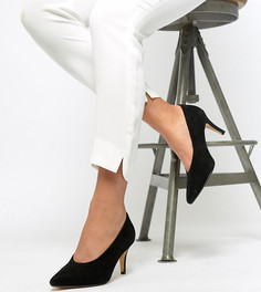 Замшевые туфли для широкой стопы на каблуке с заостренным носком Dune Amorell - Черный