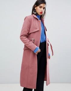 Шерстяное пальто с поясом Y.A.S - Розовый