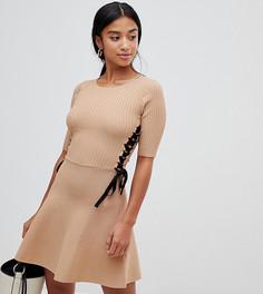 Короткое приталенное структурированное платье ASOS DESIGN Petite - Светло-бежевый
