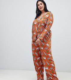 Пижама с рубашкой и брюками из 100% модала ASOS DESIGN Curve - Оранжевый
