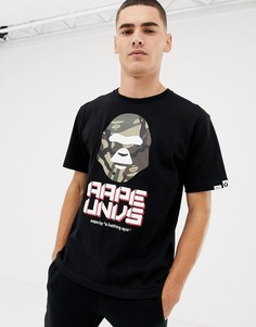 Черная футболка с большим логотипом AAPE By A Bathing Ape - Черный