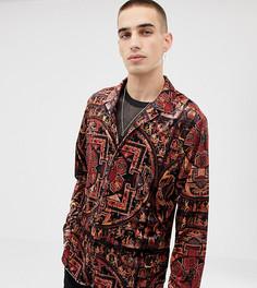 Велюровая рубашка с длинными рукавами и принтом Heart & Dagger - Мульти