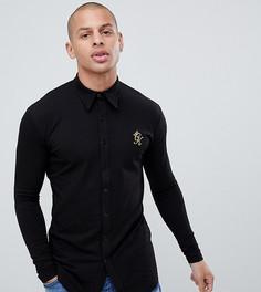 Черная обтягивающая рубашка с длинными рукавами Gym King эксклюзивно для ASOS - Черный