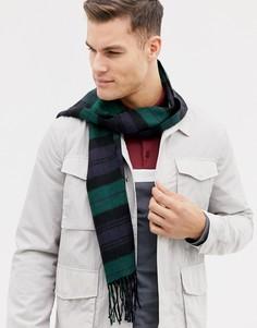 Черно-зеленый шарф в клетку Burton Menswear - Черный
