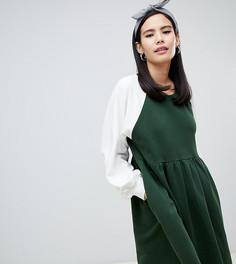 Зеленое свободное платье мини Monki - Зеленый