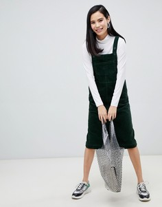 Темно-зеленое вельветовое платье-комбинезон Monki - Зеленый
