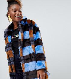 Куртка в клетку с искусственным мехом Monki - Мульти