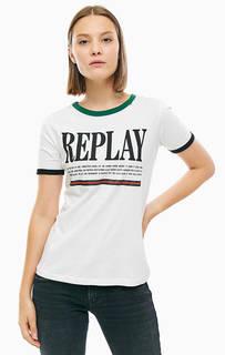 Футболка из хлопка с логотипом бренда Replay