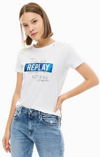 Белая футболка с блестящим принтом Replay