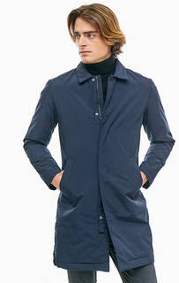Удлиненная синяя куртка с отложным воротничком Selected
