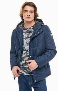 Синяя демисезонная куртка с капюшоном Guess