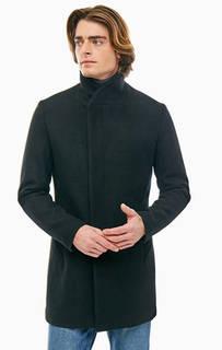 Полушерстяное пальто черного цвета Jack & Jones